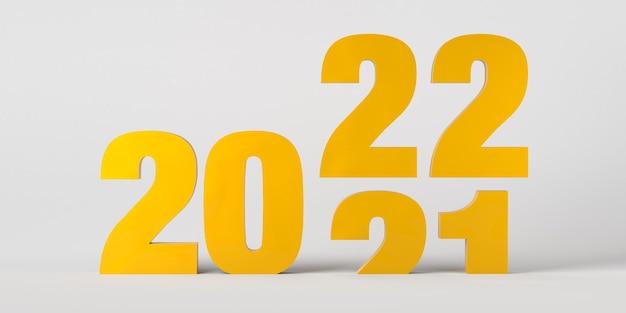 Jaar 2021 opschuiven naar jaar 2020. oudejaarsavond. 3d illustratie.