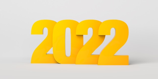 Jaar 2022 met goudgele overlappende nummers. oudjaarsavond. 3d illustratie.