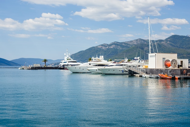 Jachthaven met jachten in montenegro in de buurt van de stad tivat