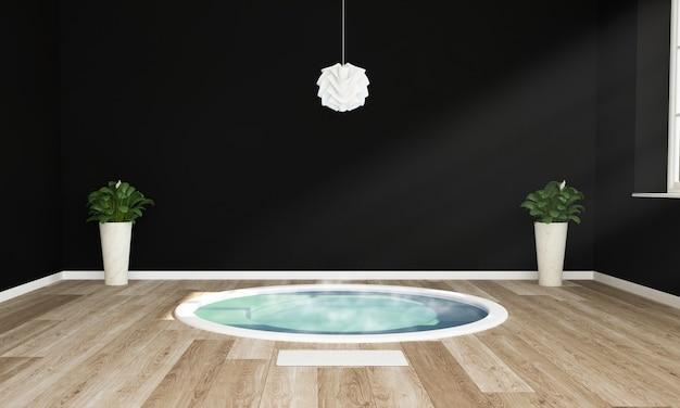 Jacuzzi op een zwarte en houten kamer