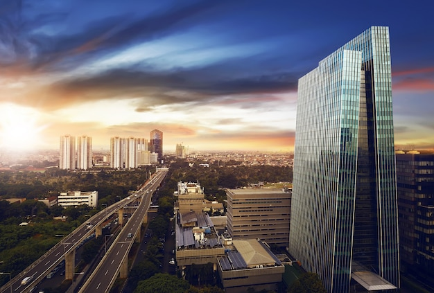 Jakarta stad 's nachts