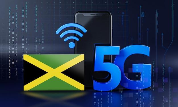 Jamaica klaar voor 5g-verbindingsconcept. 3d-rendering smartphone technische achtergrond