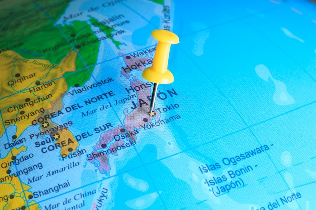 Japan gevestigd op een kaart van azië
