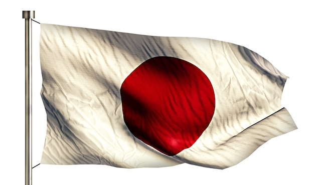 Japan nationale vlag geïsoleerde 3d witte achtergrond Gratis Foto