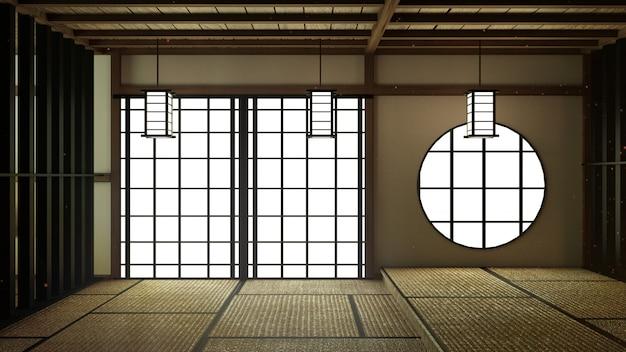 Japan room design japanse stijl. 3d-rendering