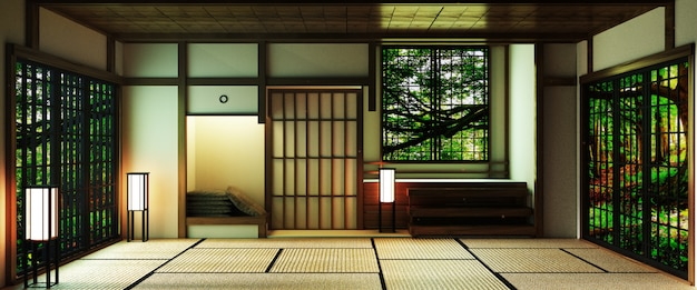 Japan stijl grote woonkamer in luxe kamer of hotel japanse stijl decoratie