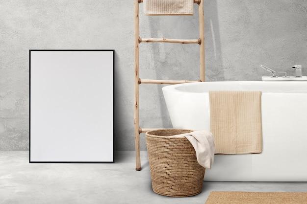 Japandi badkamer interieur met houten meubelen