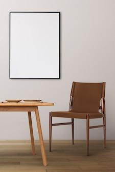 Japandi eetkamer interieur met houten tafel