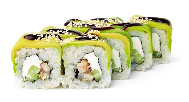 Japanse keuken sushi roll op een witte ondergrond