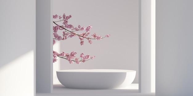 Japanse stijl architect podium achtergrond voor branding en productpresentatie 3d-rendering