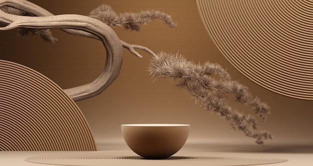 Japanse stijl minimaal abstract achtergrondpodium met bruine achtergrond voor productpresentatie 3d teruggevende illustratie