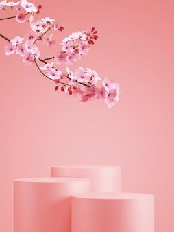 Japanse stijl minimale achtergrond. roze podium en kersenbloesemachtergrond voor productpresentatie. 3d-rendering illustratie.