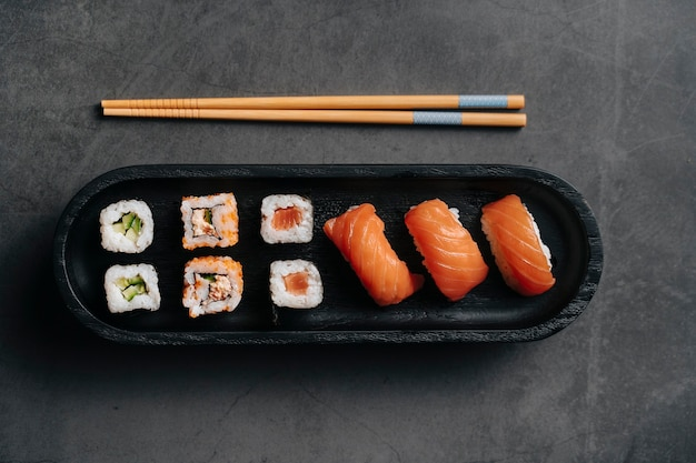 Japanse sushi. bovenaanzicht.