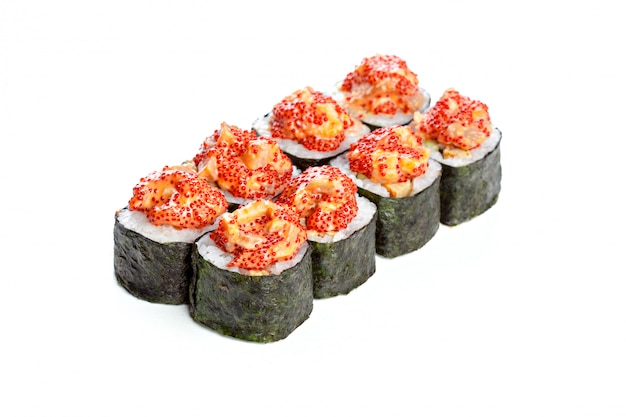 Japanse sushibroodjes op wit