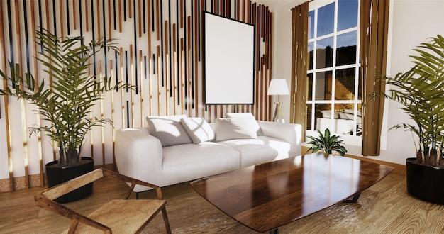 Japanse woonkamer met witte muur op de achtergrond 3d teruggeven