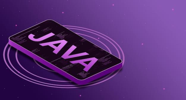 Java-programmeertaal op het telefoonscherm met code-elementen, digitale taal 3d