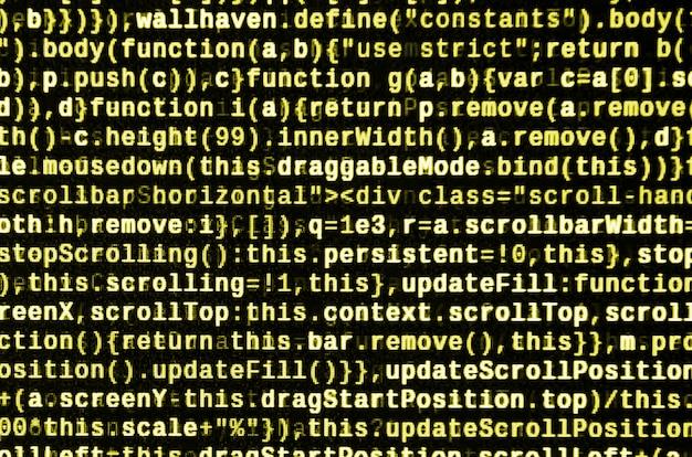 Javascript-code in teksteditor. codering van cyberspace-concept. scherm van webontwikkelingscode
