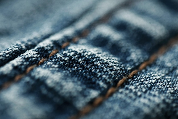 Jeans denim textuur close-up, focus slechts één punt