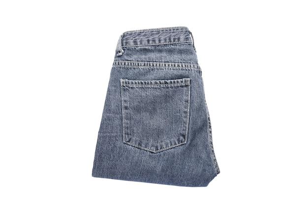 Jeans op de achtergrond. jeans op een witte geïsoleerde achtergrond, bovenaanzicht.