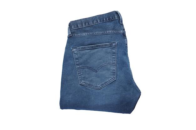 Jeans op een witte geïsoleerde achtergrond, bovenaanzicht.