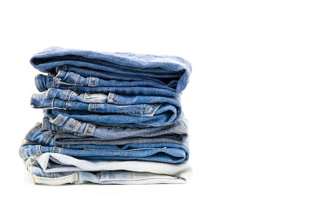 Jeans vouw op wit
