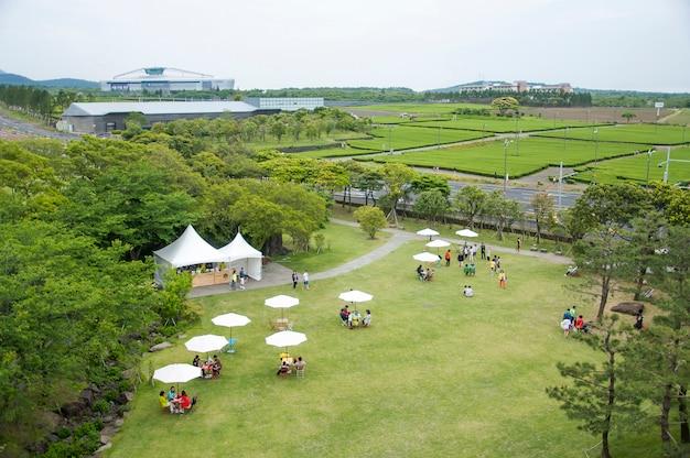Jeju island, korea - 12 oktober: de osulloc thee museum is de f