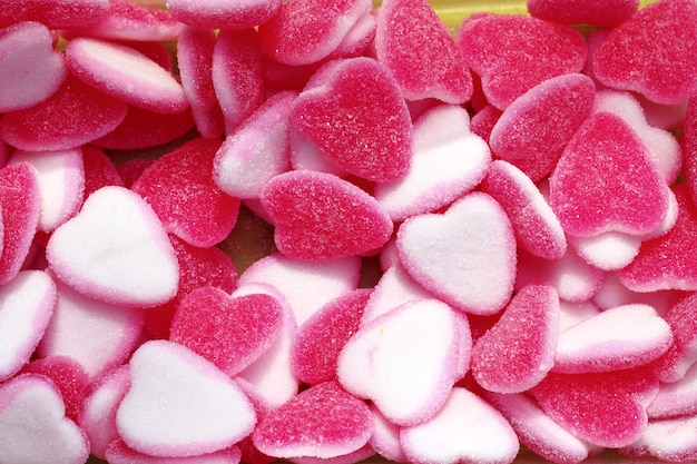 Jelly snoep snoep roze witte hartvorm