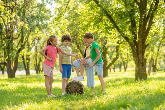 Jeugd. vrolijk lachende jongens en meisjes communiceren spelen op groen gazon in park op zomerdag