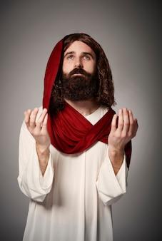 Jezus van nazareth smeekt om vergeving