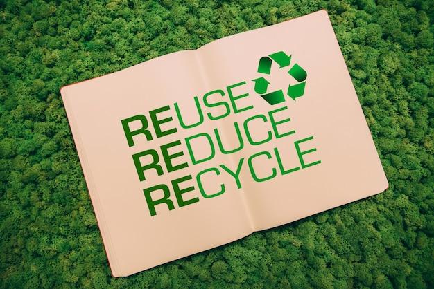 Jij kunt deze wereld beter maken. bovenaanzicht close-up afbeelding van notebook met recycling symbool en tekst op mos achtergrond