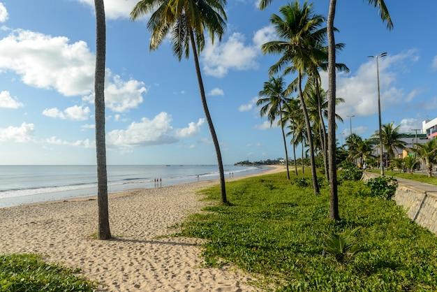 Joao pessoa, paraiba, brazilië op 25 mei 2021. manaira strand met kokospalmen.