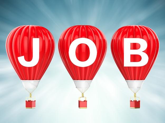Job teken op 3d-rendering rode hete lucht ballonnen
