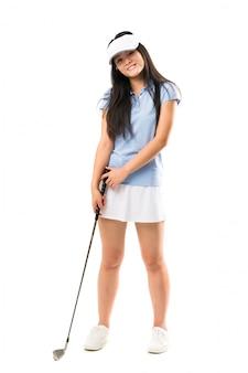 Jong aziatisch golfspelermeisje over geïsoleerde witte muur