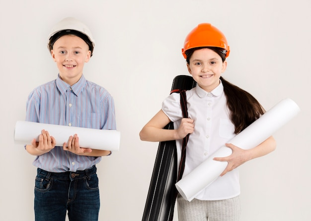 Jong bouwvakkers middelgroot schot