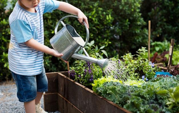 Jong geitje in een een tuinervaring en idee