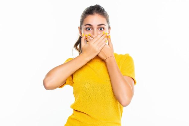 Jong gelukkig glimlachend jong tienermeisje dat met hand behandelt haar mond, die op witte muur wordt geïsoleerd
