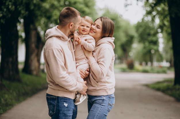 Jong gezin met hun kleine baby-kind in het park