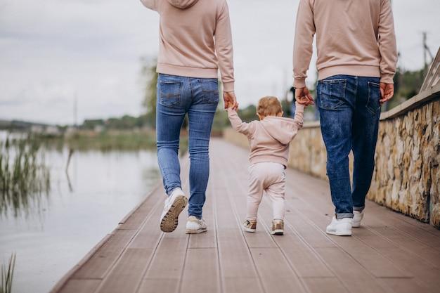 Jong gezin met hun kleine baby kind in park aan het meer