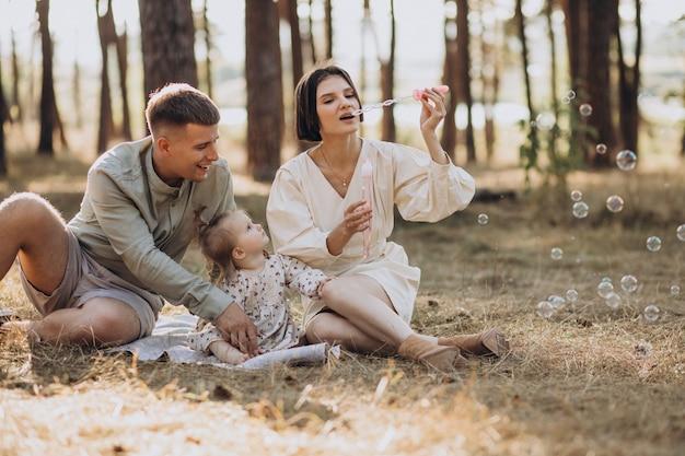 Jong gezin met schattige dochtertje rusten in het bos op de zonsondergang