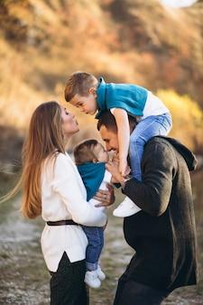 Jong gezin met twee zonen samen buiten het park