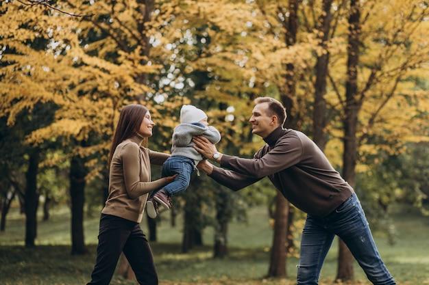 Jong gezin met zoontje in park