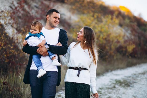 Jong gezin met zoontje wandelen in het park