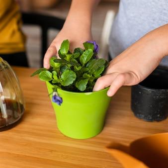 Jong kind dat bloem in pot plant