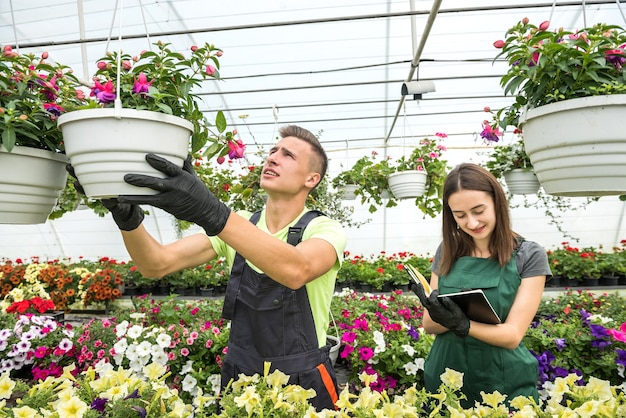 Jong koppel bloemisten werken met bloemen en planten in de kas. familiebedrijf