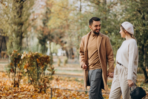Jong koppel samen in een herfst park