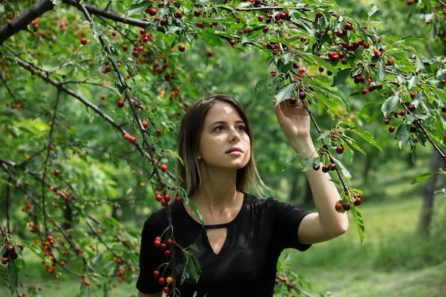 Jong meisje in een zwarte jurk die een oogst van kersenboom verzamelt