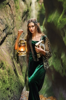 Jong mooi vrouwelijk elf die door het bos met een boek en een lantaarn lopen