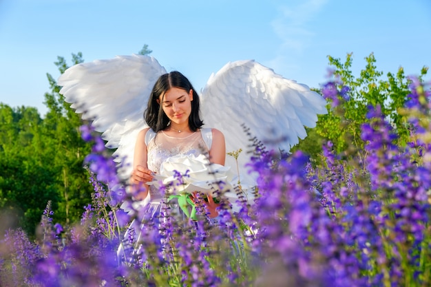 Jong mooi wit meisje met engelenvleugels zit op een weide met wilde bloemen