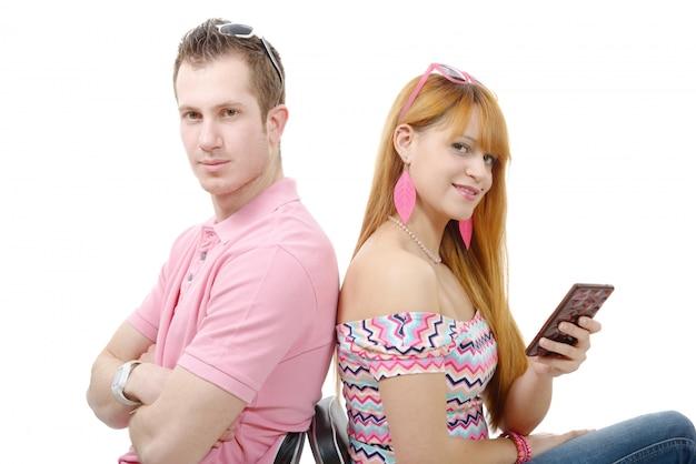 Jong stel met problemen, vrouwentelefoon