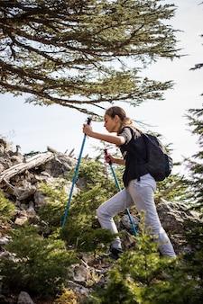 Jong tienermeisje met trekkingspolen en een rugzak in het bos. bergbeklimmen
